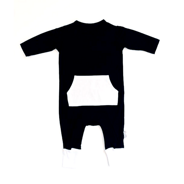 Bamboo Pocket Front Romper Black - WORLD OF MONOKROME