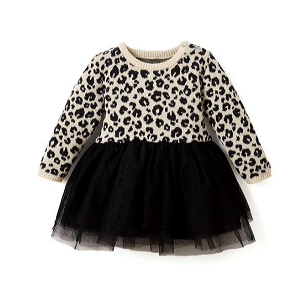 Leopard Knit Tulle Dress - WORLD OF MONOKROME
