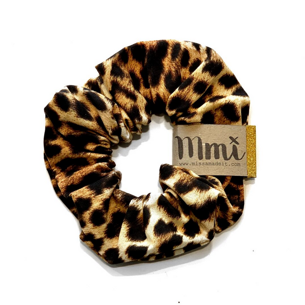 Handmade Scrunchie Brown Leopard - WORLD OF MONOKROME