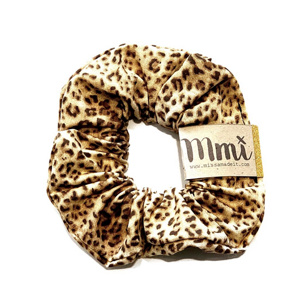Handmade Scrunchie Mini Brown Leopard - WORLD OF MONOKROME