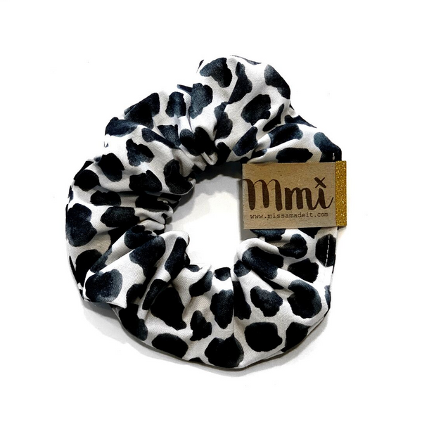 Handmade Scrunchie Snow Leopard - WORLD OF MONOKROME