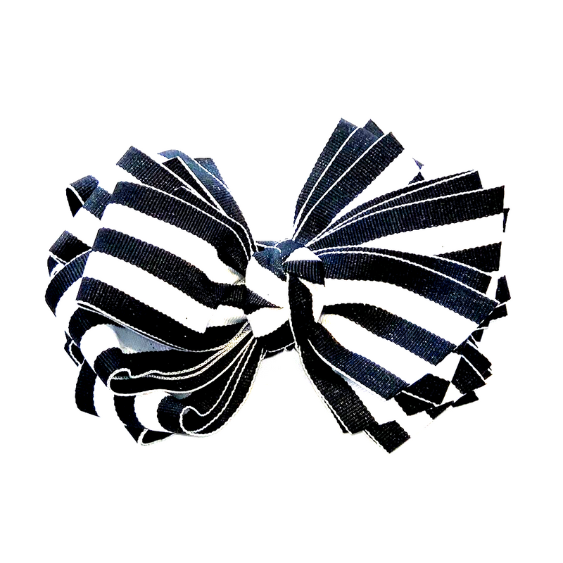 Handmade Hair Bow Stripes - WORLD OF MONOKROME
