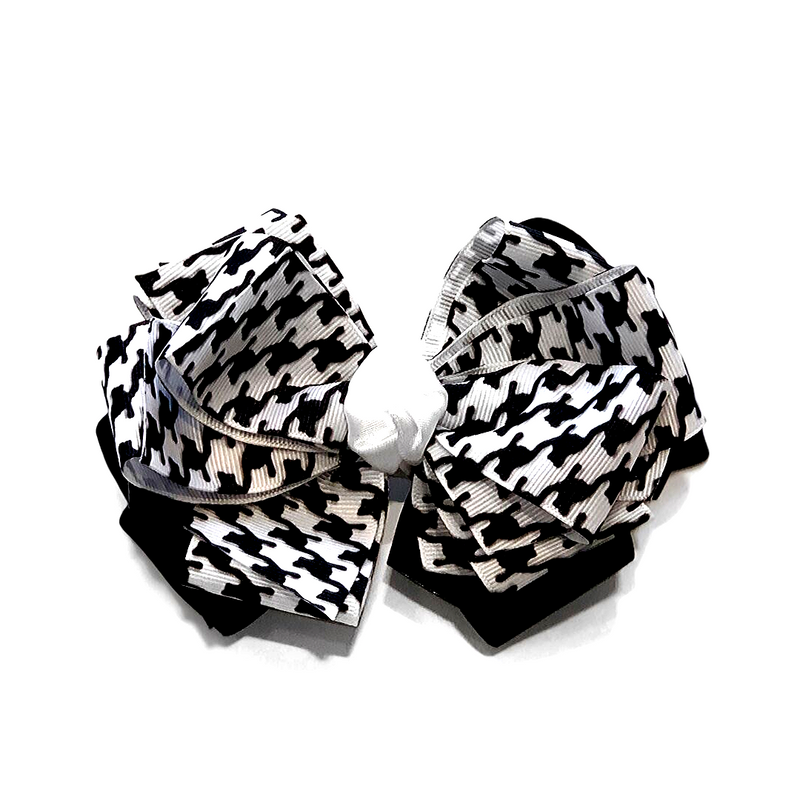 Handmade Hair Bow Houndstooth - WORLD OF MONOKROME