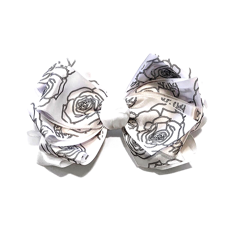 Handmade Hair Bow White Roses - WORLD OF MONOKROME