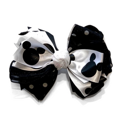 Handmade Hair Bow Mickey - WORLD OF MONOKROME