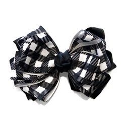 Handmade Hair Bow Buffalo Check - WORLD OF MONOKROME