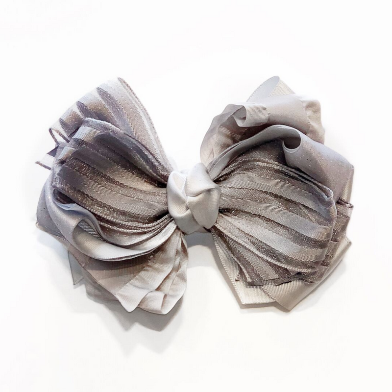 Handmade Hair Bow Grey Stripes - WORLD OF MONOKROME