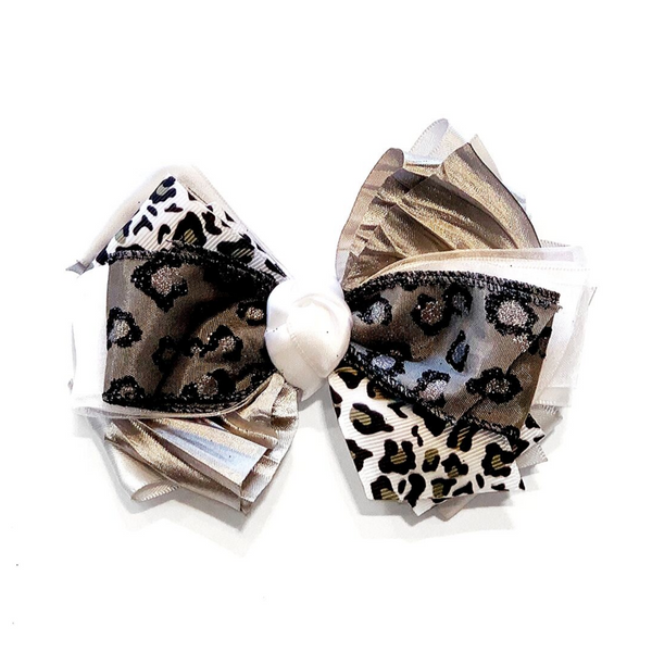 Handmade Hair Bow Snow Leopard - WORLD OF MONOKROME