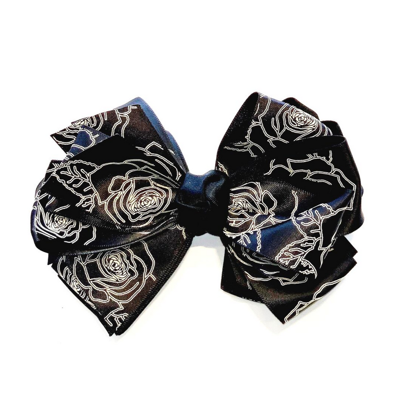 Handmade Hair Bow Black Roses - WORLD OF MONOKROME