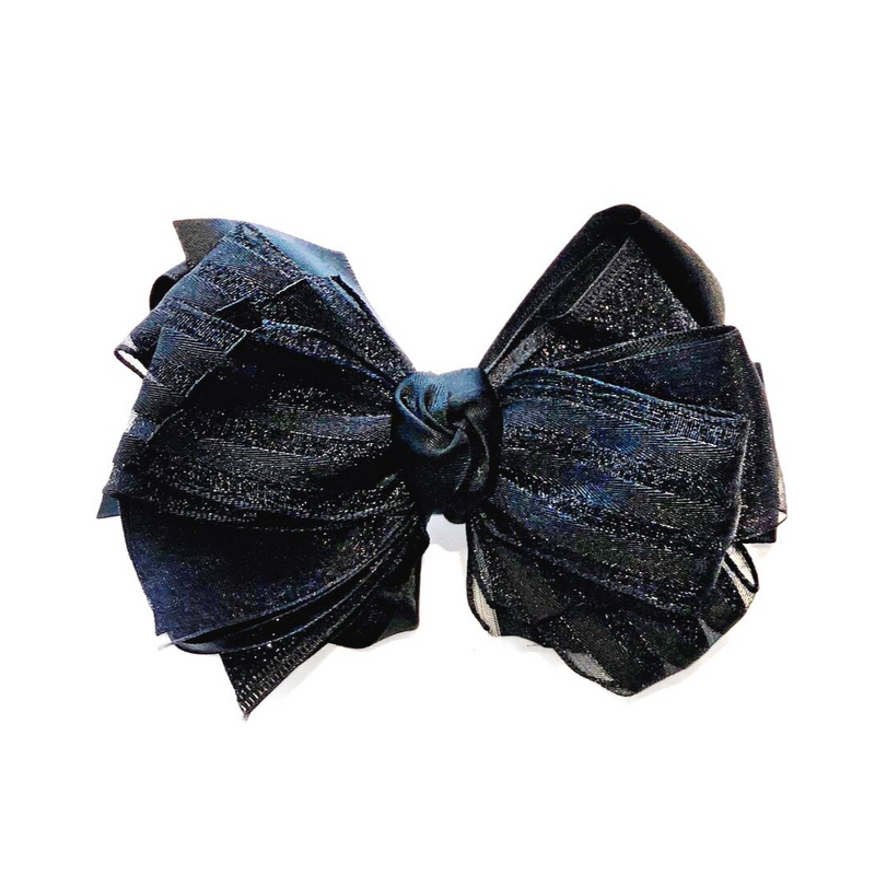 Handmade Hair Bow Black Glitter - WORLD OF MONOKROME