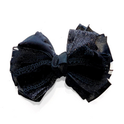 Handmade Hair Bow Black Velvet - WORLD OF MONOKROME
