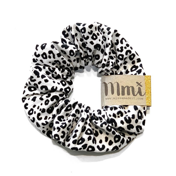 Handmade Scrunchie Mini Snow Leopard - WORLD OF MONOKROME