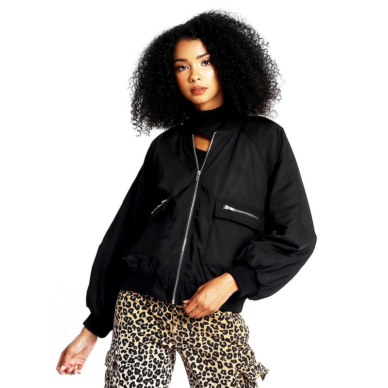 Puff Sleeve Bomber Jacket - WORLD OF MONOKROME