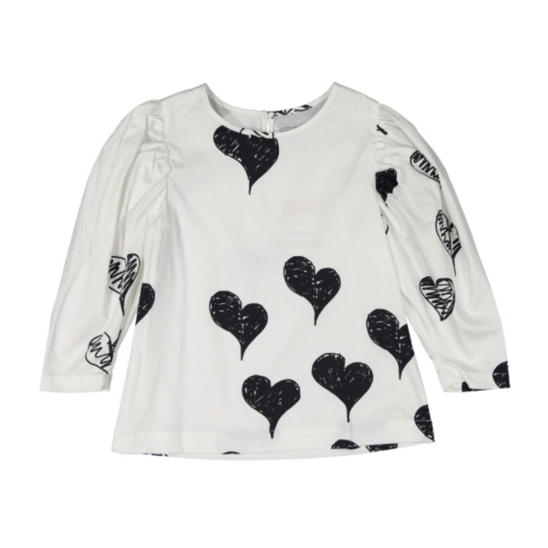 Fitzgerald Blouse Scribble Hearts - WORLD OF MONOKROME