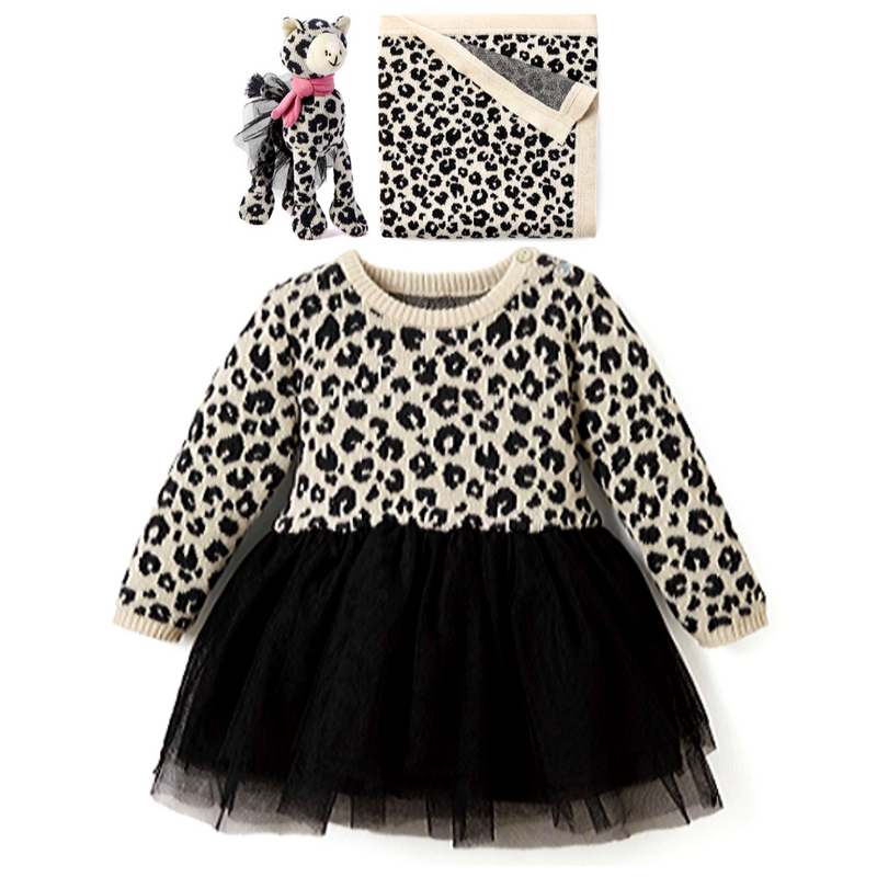 Leopard Knit Tulle Dress & Lovie Set