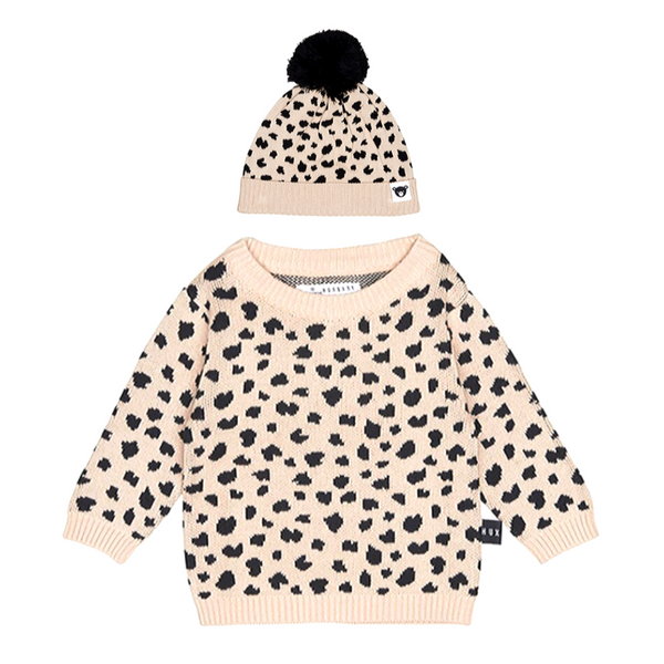 Leopard Knit Jumper & Hat Set