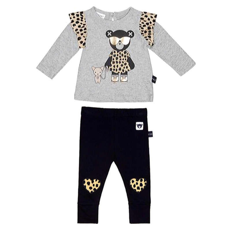 Chihuahua Frill Top & Leopard Heart Legging Set