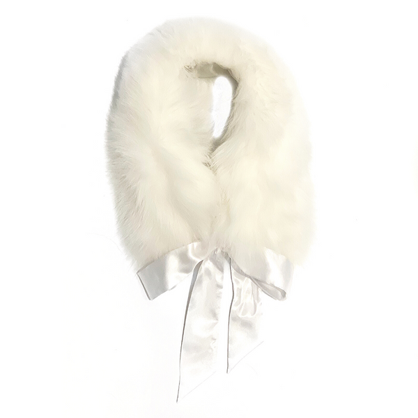 Fur Trim Collar with Atlas Bow White