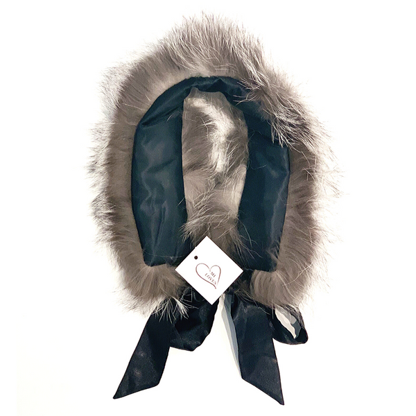 Fur Trim Collar with Atlas Bow Grey