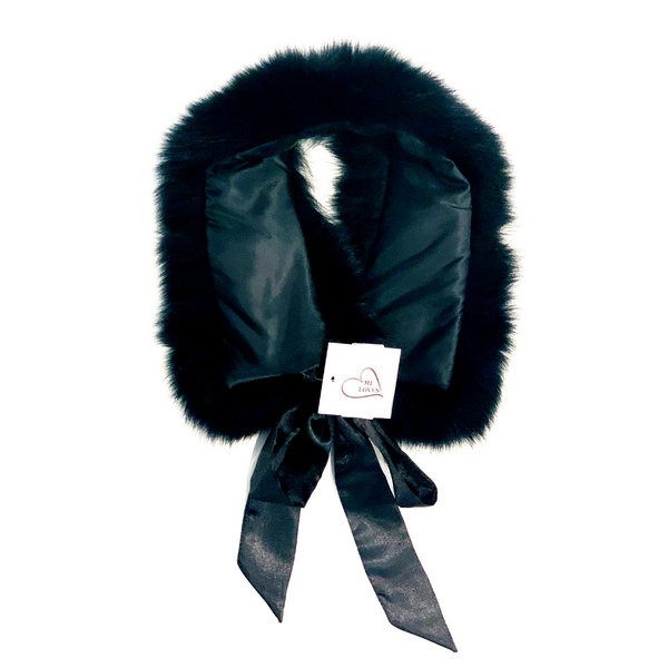 Fur Trim Collar with Atlas Bow Black