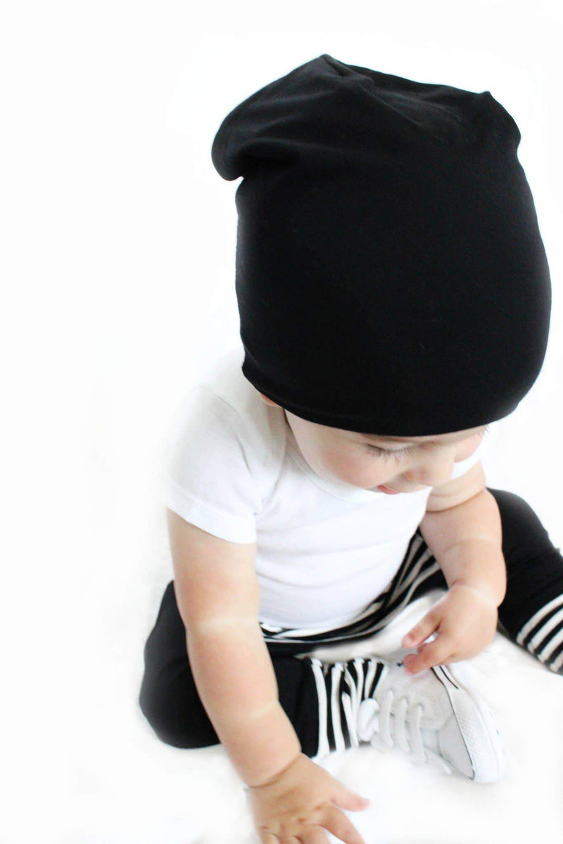 Bamboo Slouch Beanie Black - WORLD OF MONOKROME