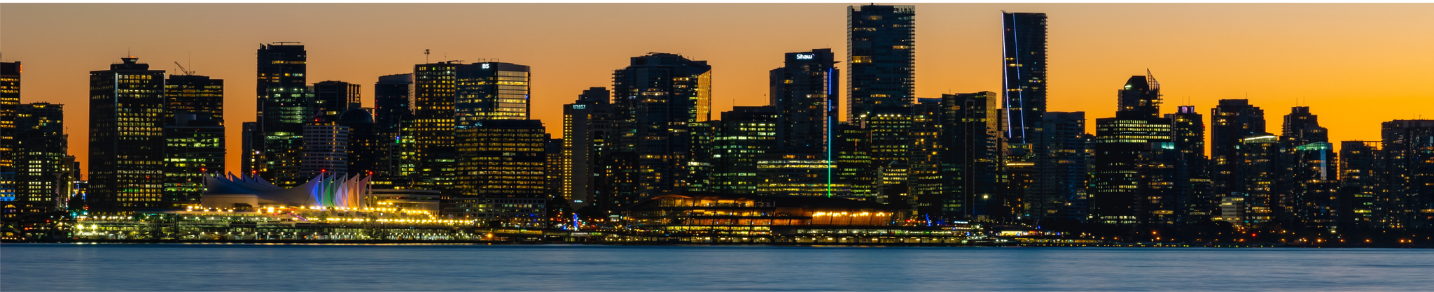 Downtown Vancouver, night time Atlantia's contact us banner.