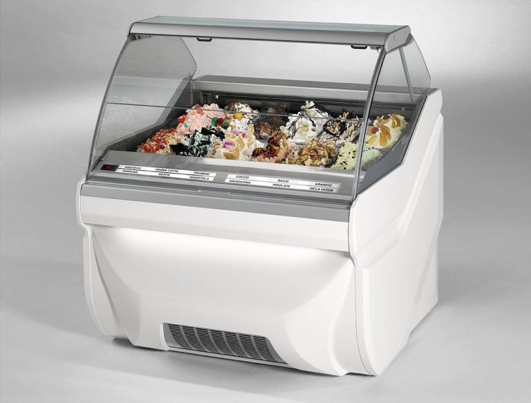 CIam Brand Amika 18 Pan Model Frozen Dessert Display Case- 12 Pan- Paleta, Pops ,Gelato, or Ice Cream