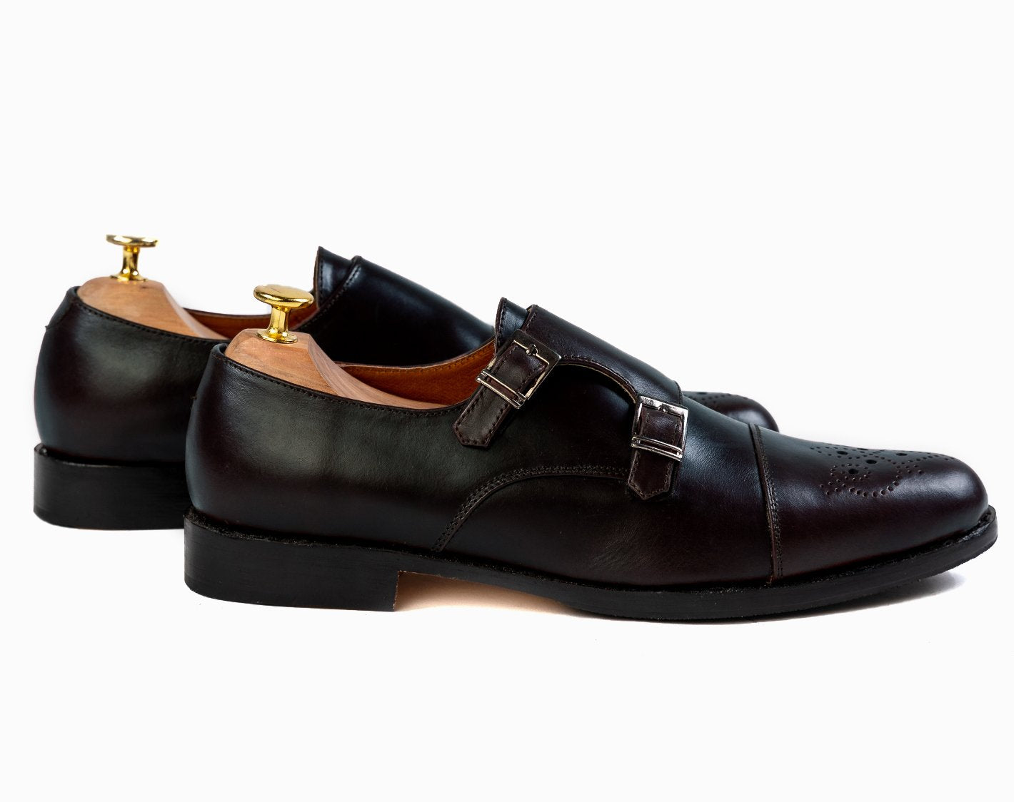 Grand Double Monkstraps - Black Noir