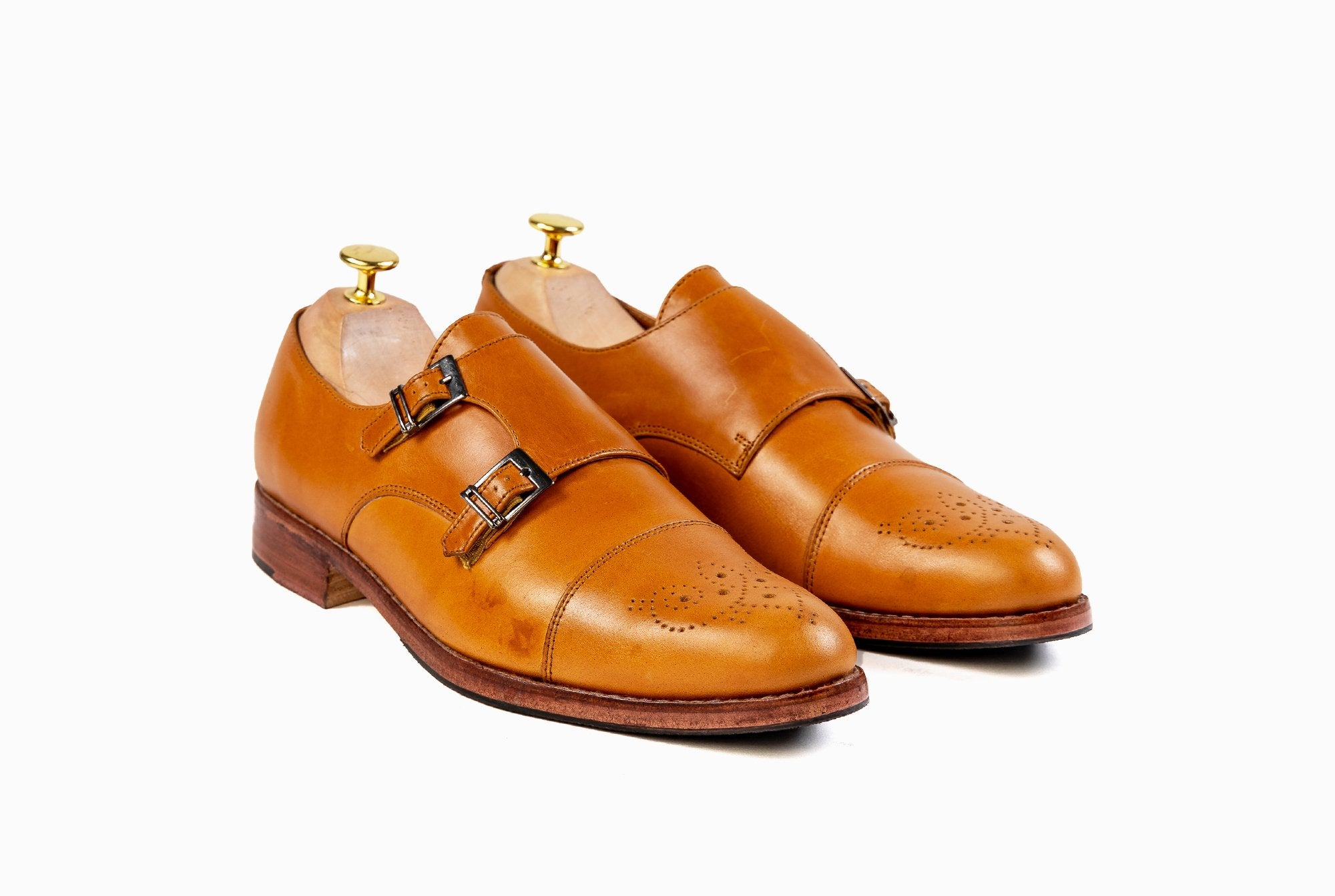 Grand Double Monkstraps - Cognac Tan