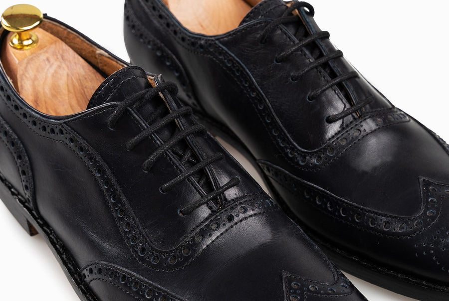 The Grand Wingtip Oxford -Black Noir