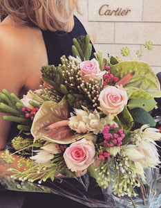 ORDINA BOUQUET PINK con Rose, Anthurium e Gipsofila