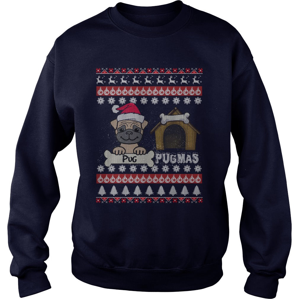 Pug Christmas Sweatshirt, Pug Christmas Jumper.