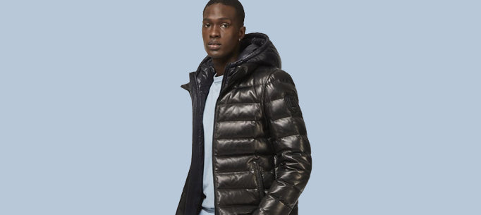 Men's Leather Down Puffers & Parkas