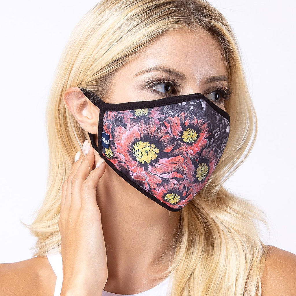 Flowers in Dark 3-Layered Face Mask