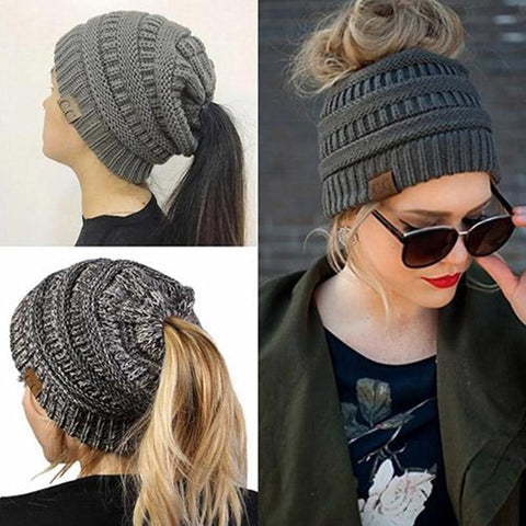 Messy Bun Beanie (hole in top for buns)