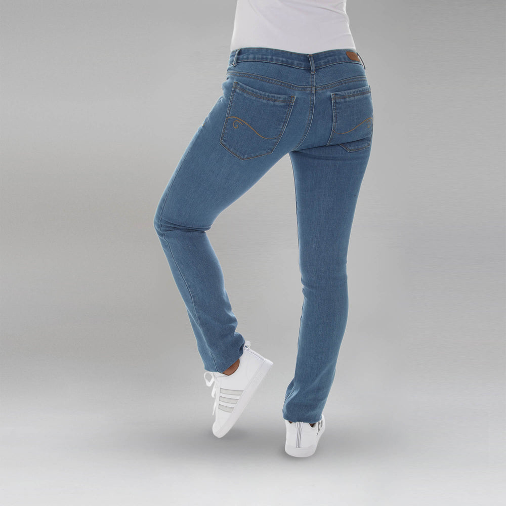 Deep Pocket Women's Straight Jeans Light Blue  — Mid-Rise