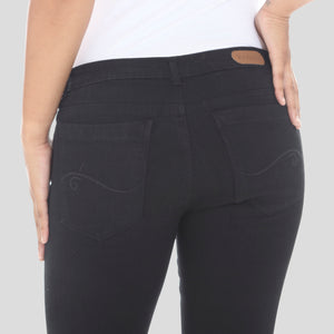 Deep Pocket Women's Straight Jeans Jet Black  — Mid-Rise
