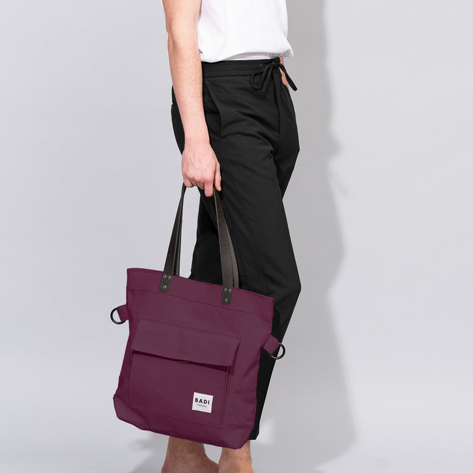Fold-Over Tote Bordeaux-natural