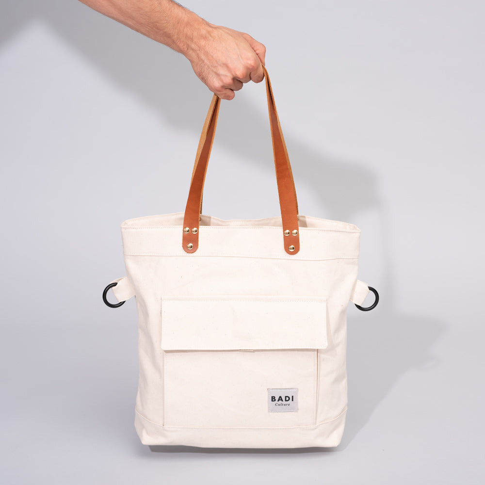 Fold-Over Tote natural-print