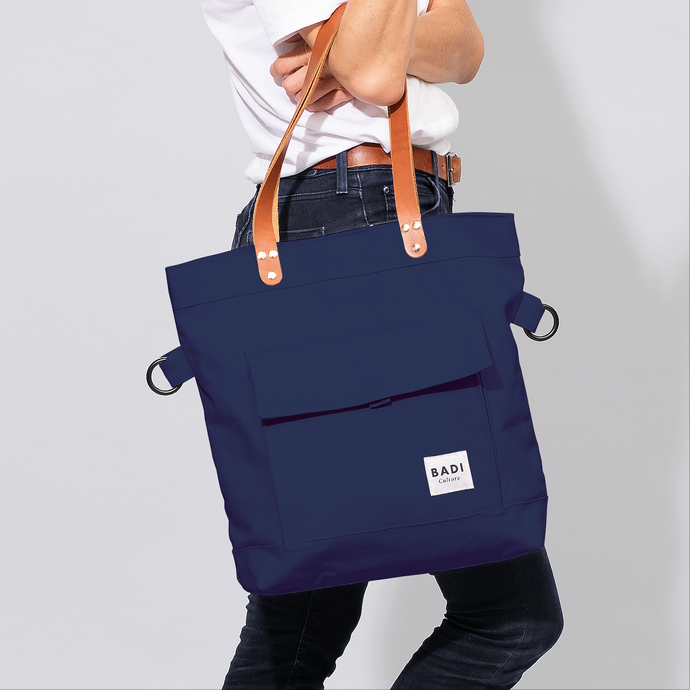 Fold-Over Tote Ocean-natural