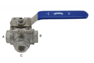 "1/2"" FPT 3-Way Ball Valve"