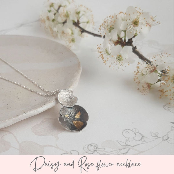Daisy and rose silver necklace