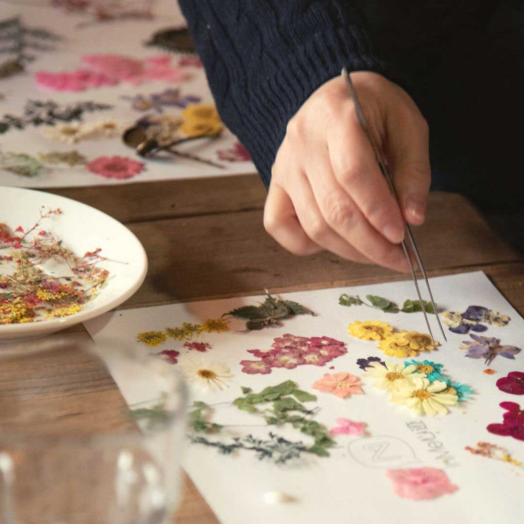 Pressed flowers sorting out for making jewellery