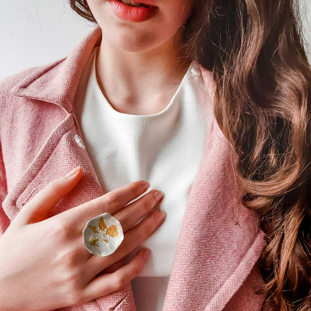 Pressed flower rose ring silver gold