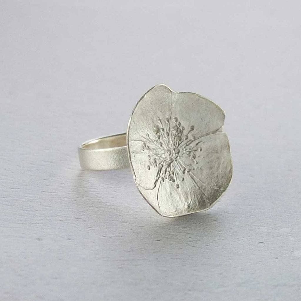 Large rose ring silver made from pressed flower
