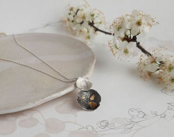 Pressed flower floral jewellery - Long Flower Necklace