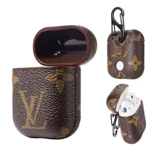LV Monogram Brown Style Leather ShockProof Case for Apple Airpods 1 & 2