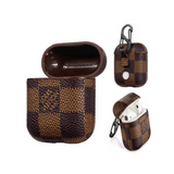LV Checkered Style Leather ShockProof Case for Apple Airpods 1 & 2