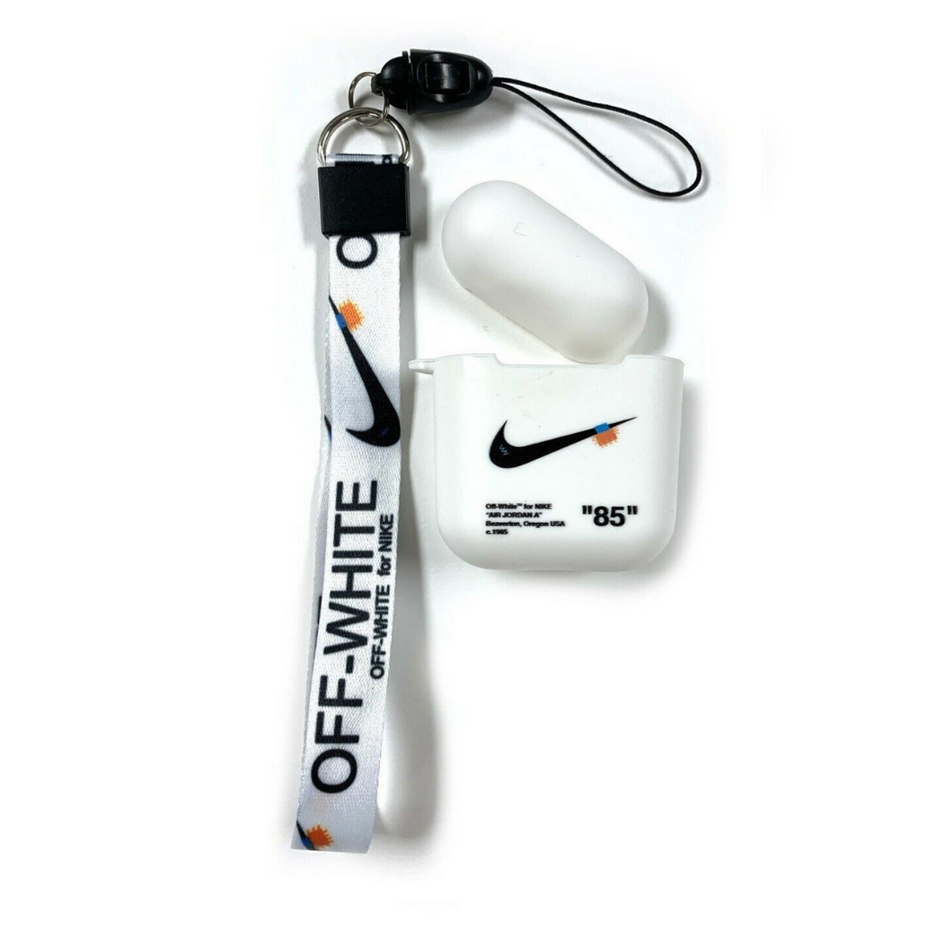 Nike Off-White Crystal White Silicone ShockProof AirPods Case with Off-White Lanyard