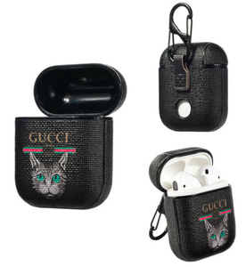 Gucci Cat Style Leather ShockProof Case for Apple Airpods 1 & 2